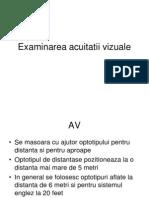 distanta tabelului de acuitate vizuala